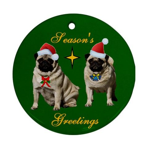 PUG DOG CHRISTMAS XMAS TREE PORCELAIN ORNAMENT GIFT NEW