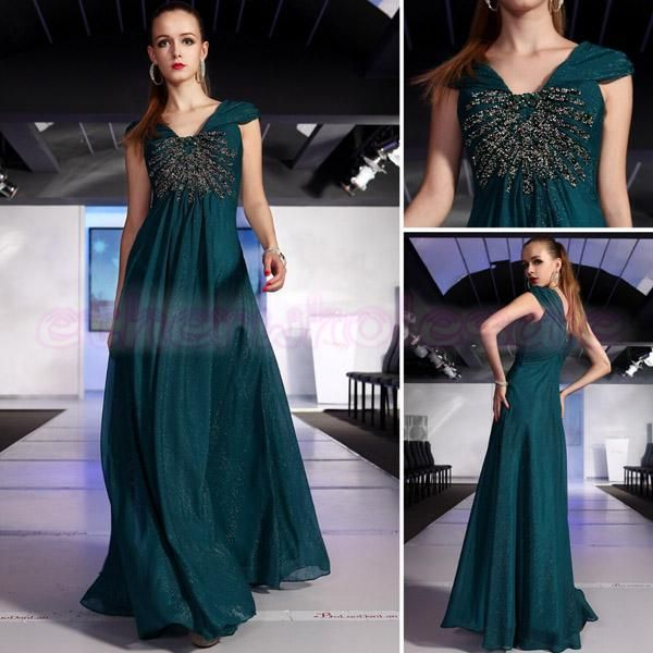 Glaring Silk V neck Cap Sleeve Evening Gown Prom Dress 5